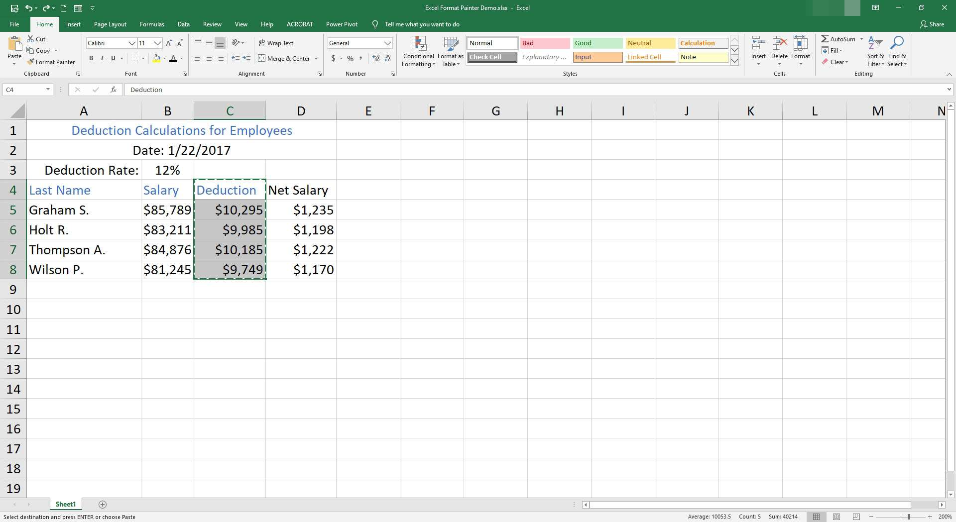 Cells C4 through C8 are selected in Excel.
