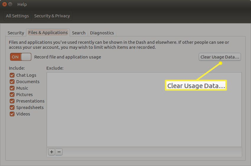 Ubuntu Dash Files & Applications screen with Clear Usage Data highlighted