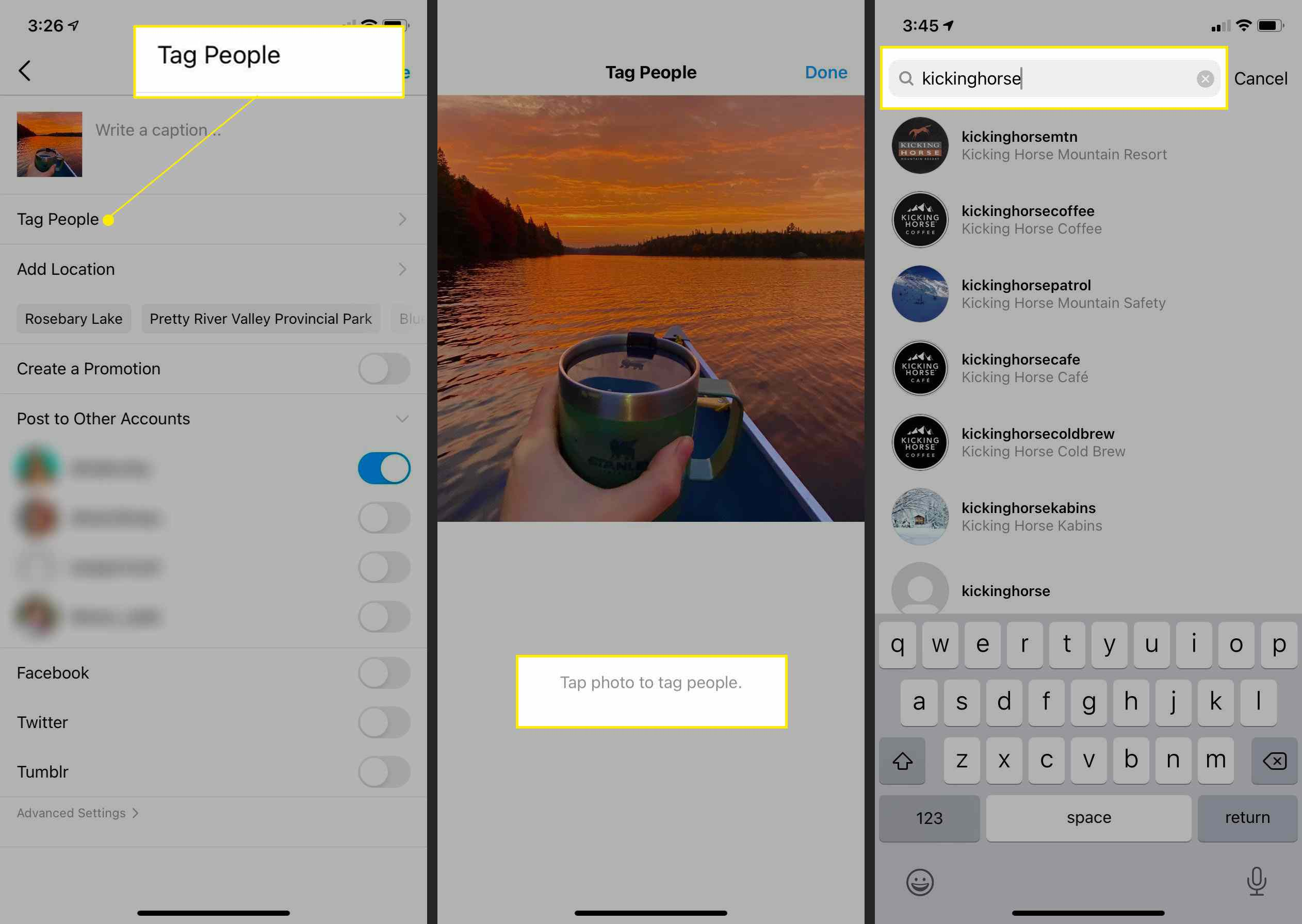 Instagram app post-creation pages with