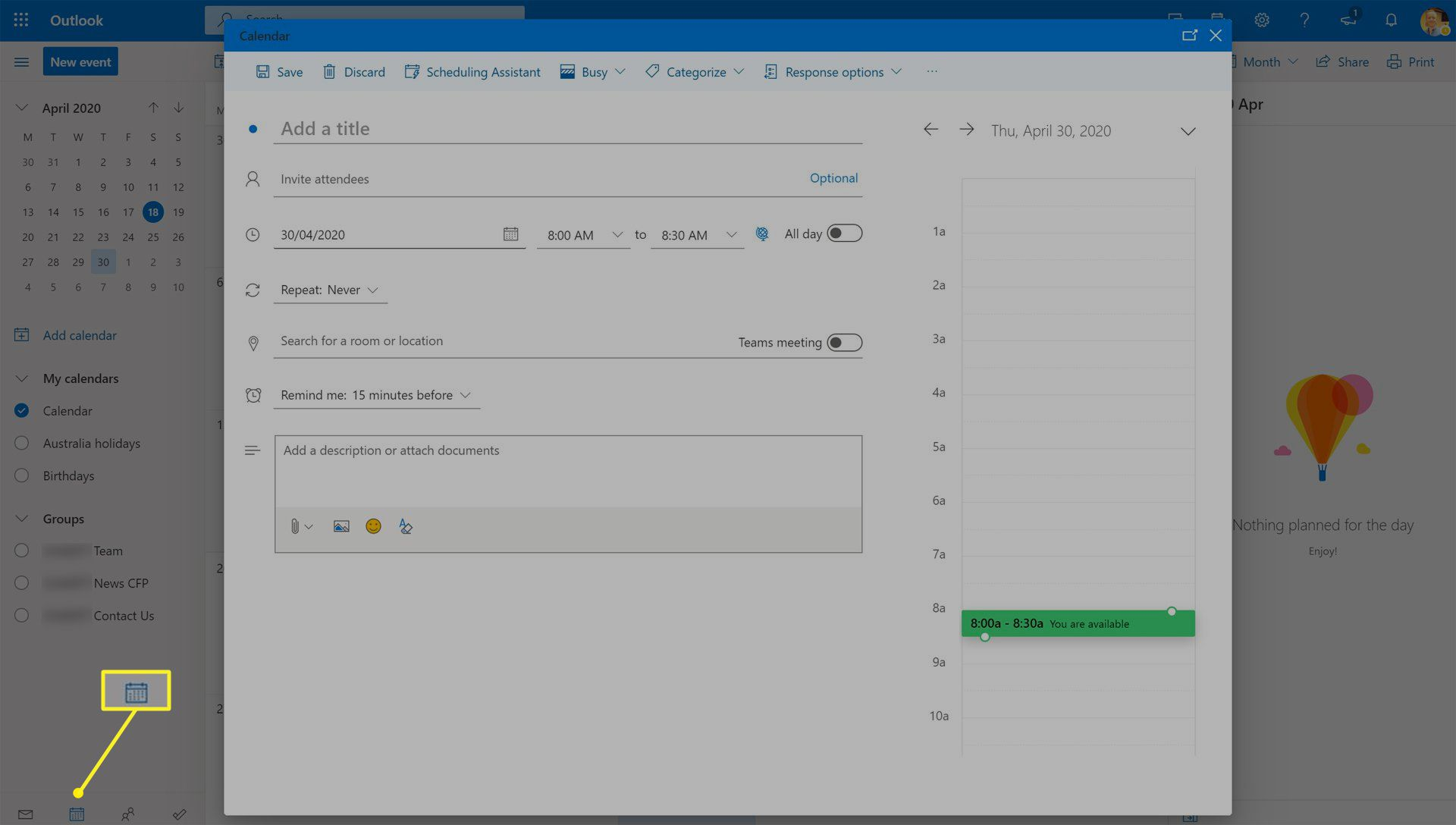 Making a calendar event on Outlook for web.