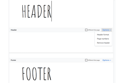 Screenshot of the Google Docs header and footer sections
