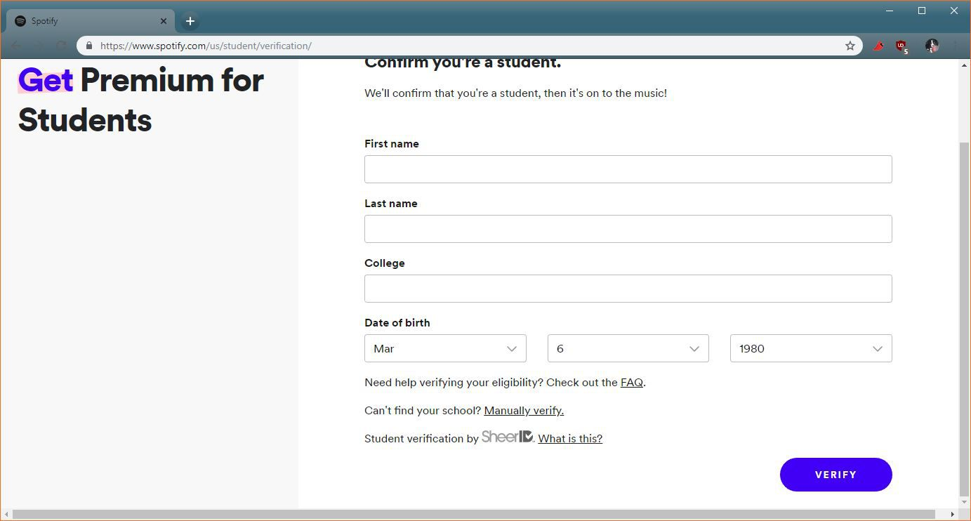 A screenshot of the Spotify student discount verification page.