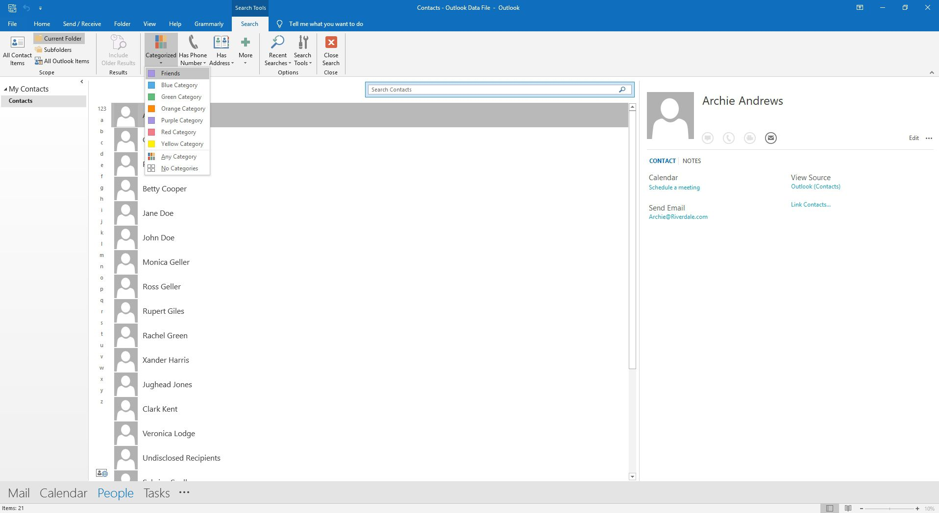 Selecting a category to search in Outlook