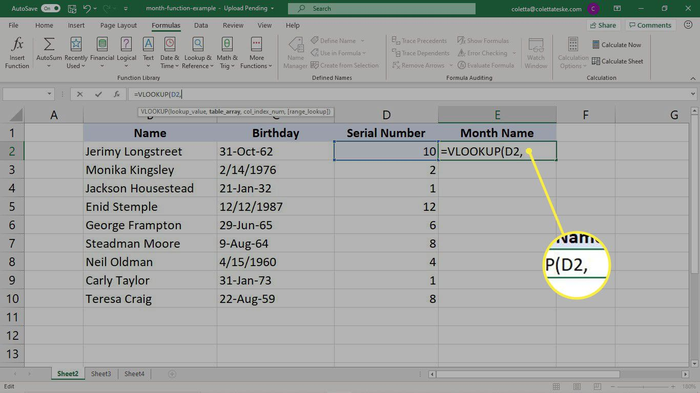 Selecting the cell for the VLOOKUP formula