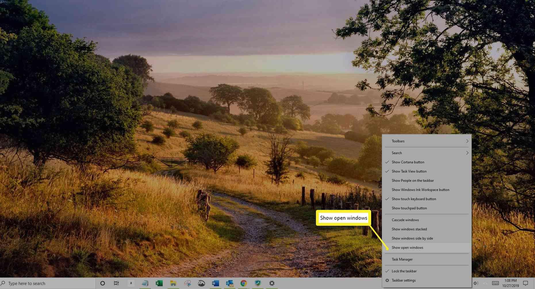 Show Open Windows in taskbar right-click menu