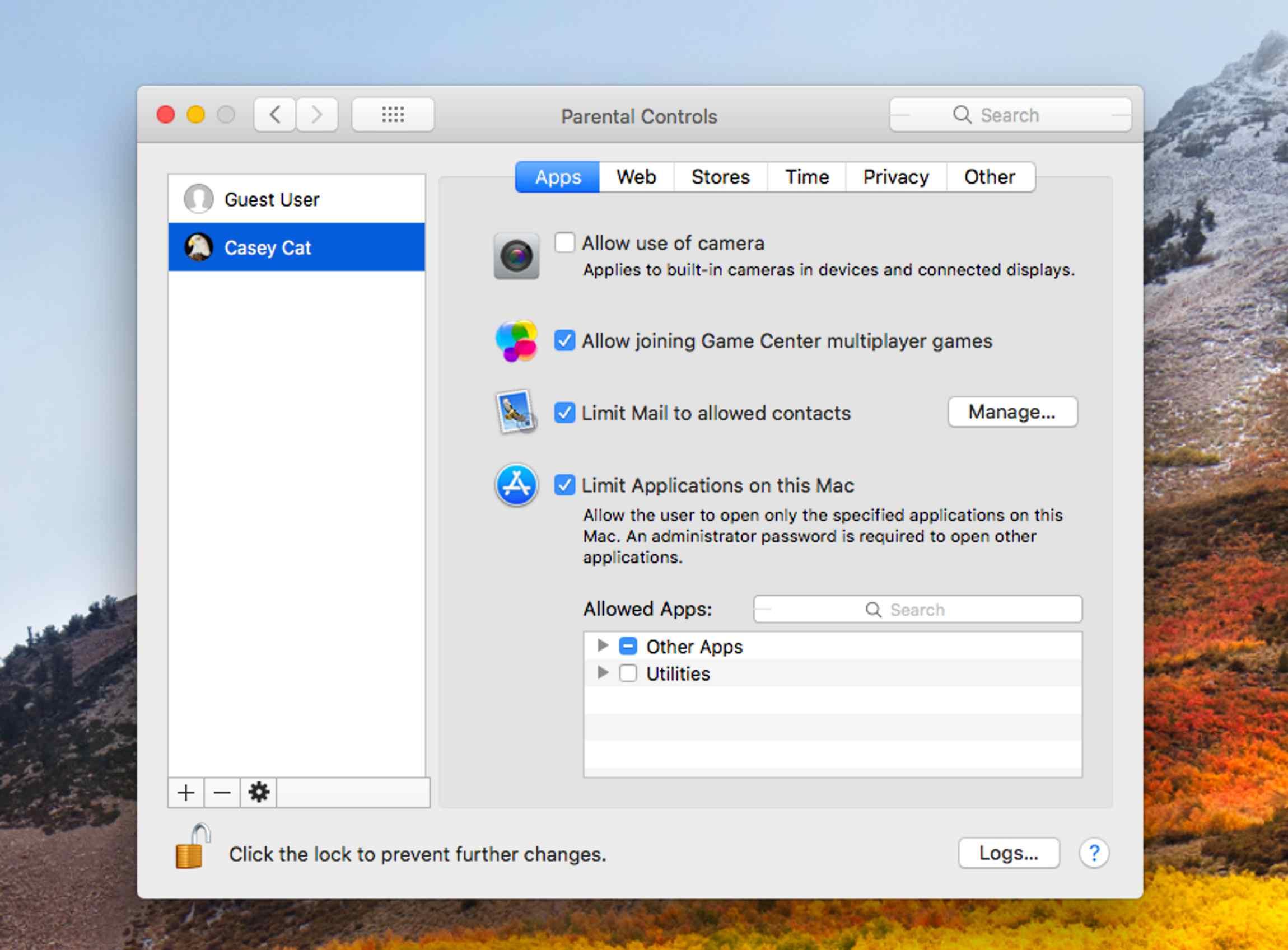 Parental controls in macOS