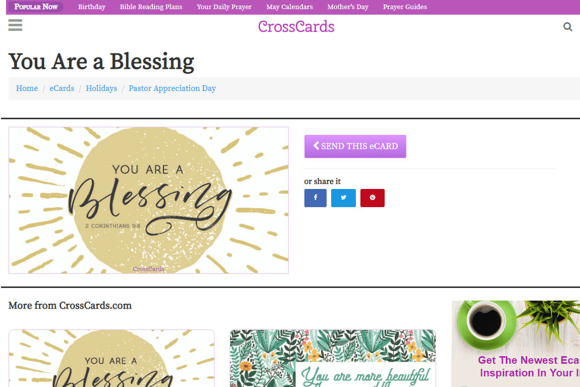 CrossCards You Are A Blessing Ecard