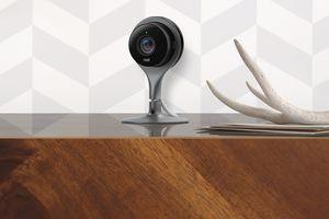 Google Nest Cam Indoor sitting on mantle