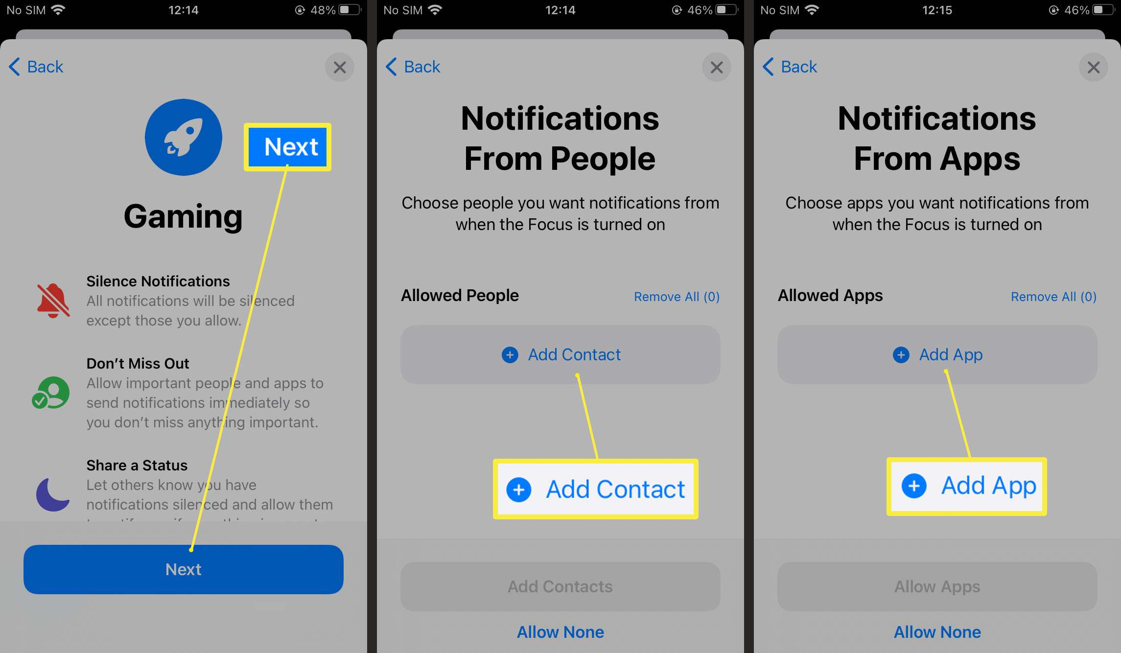 Steps required to allow notifications from people or apps using Focus Mode on iOS 15