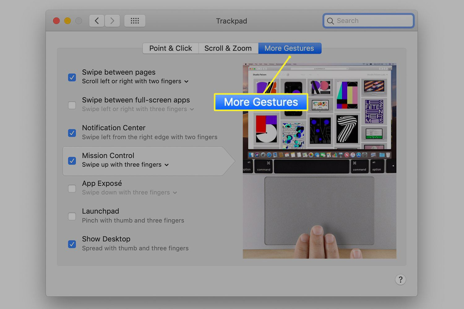 Trackpad preferences with More Gestures tab selected