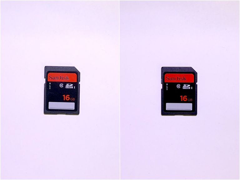 Photo of SD Card locked (on left) and unlocked (on right)