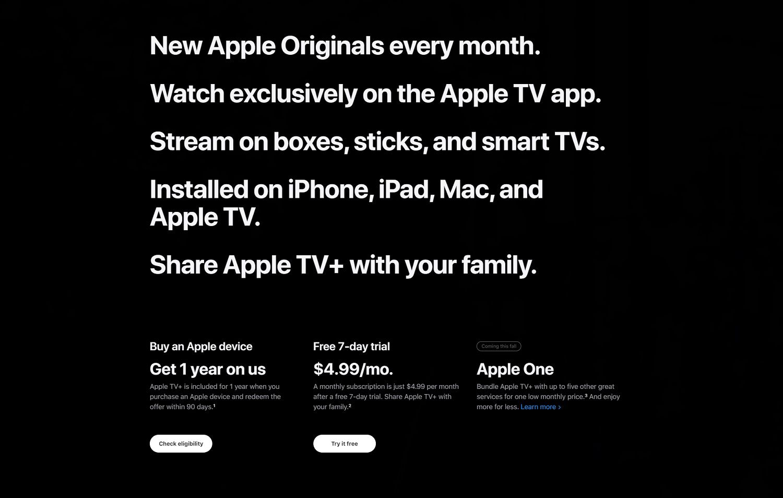 Apple TV+'s subscription plans