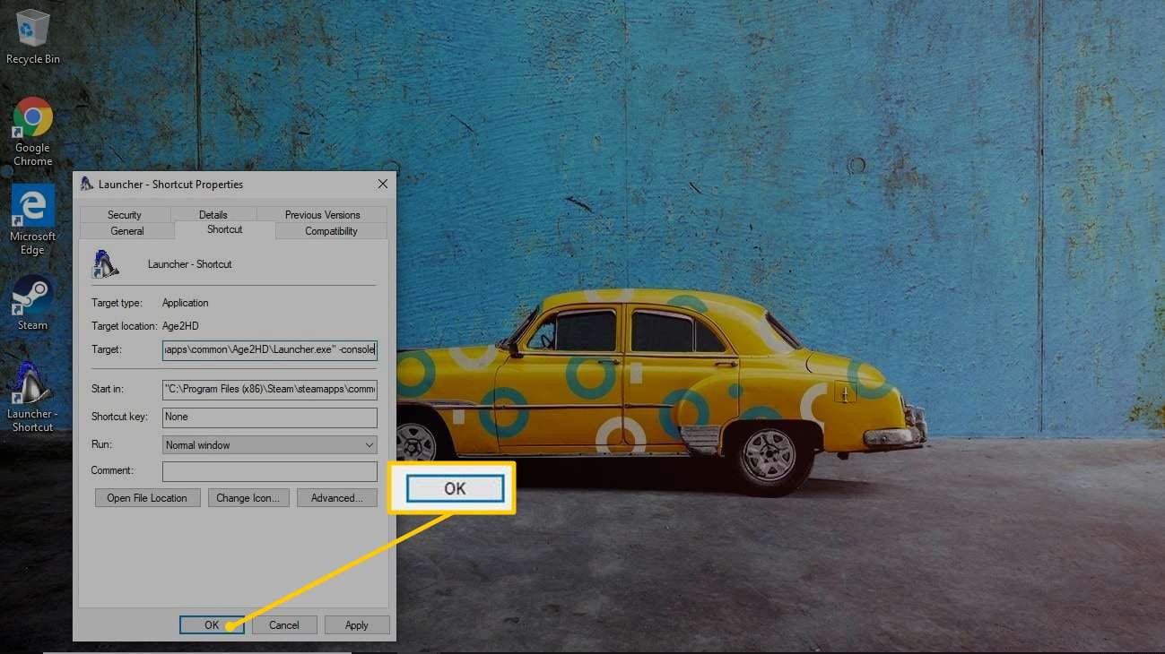 OK button in Shortcut Properties window
