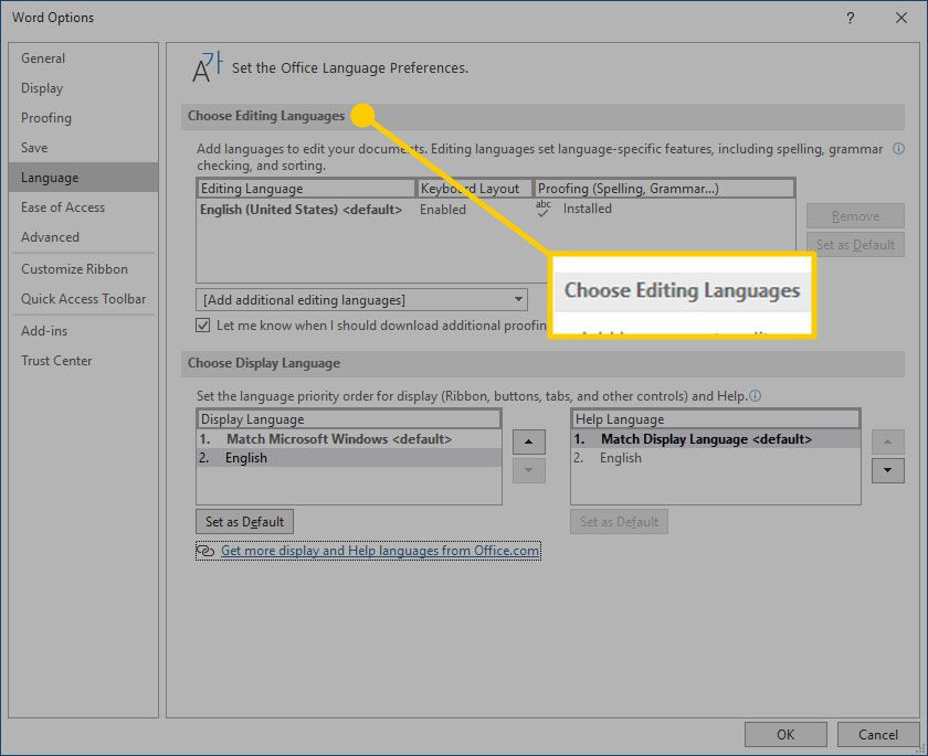 Language Preferences window with the Choose Editing Languages heading highlighted