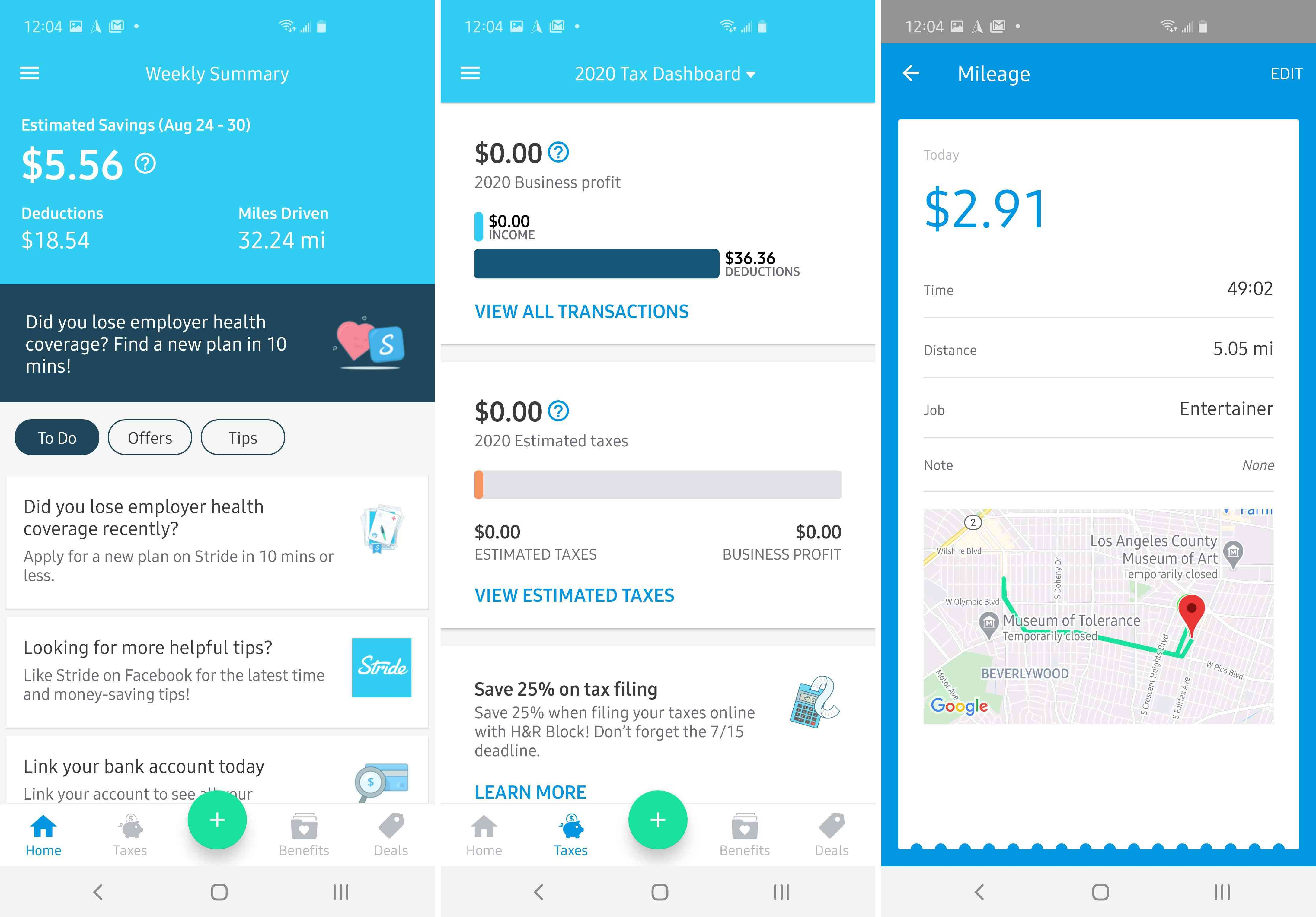 Three views of the app Stride.