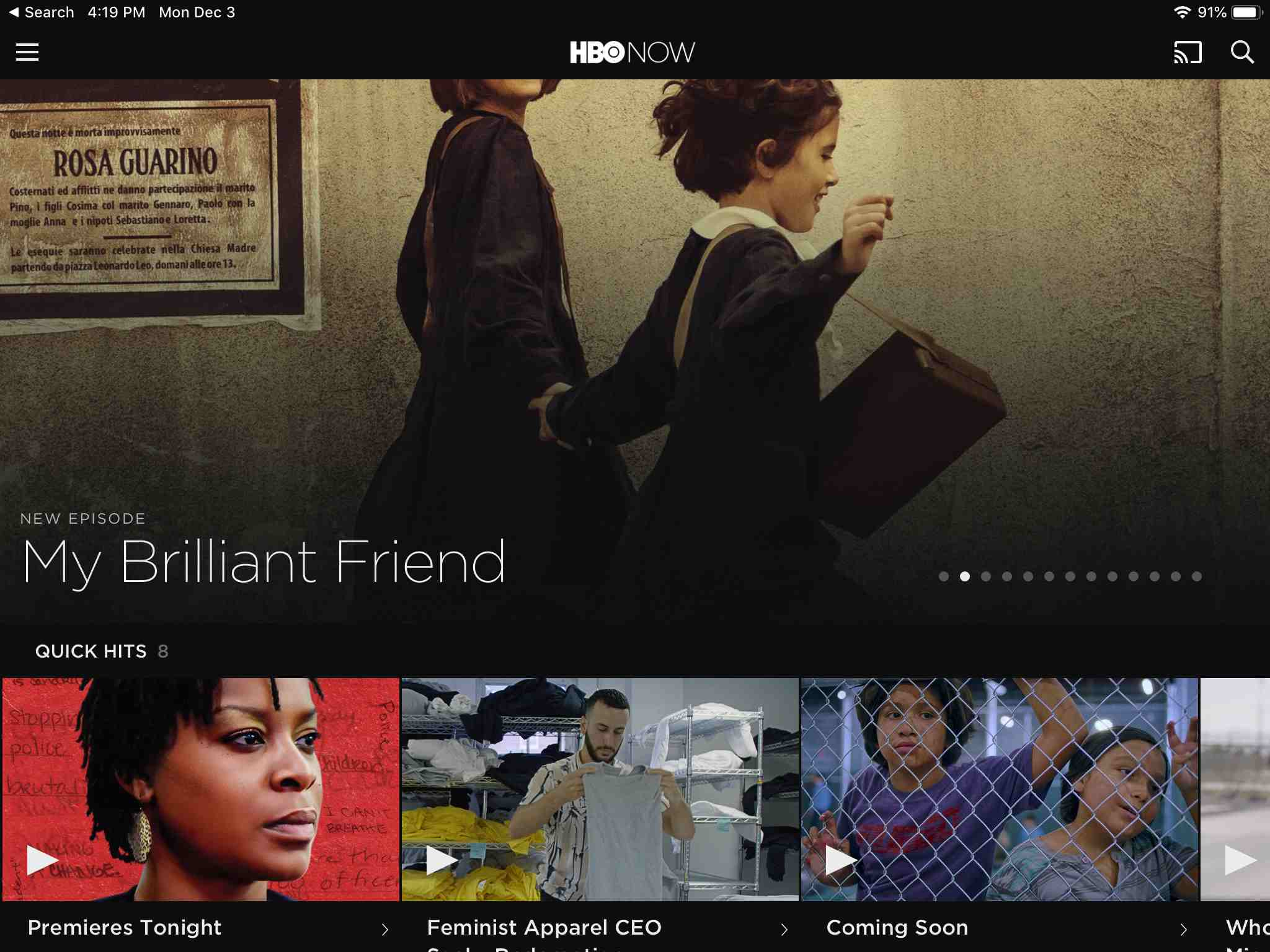 HBO Now app on iPad