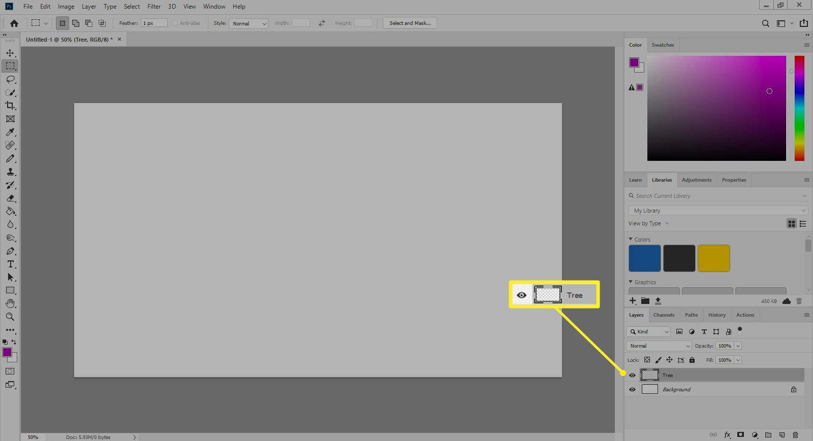 New layer named Tree in Photoshop