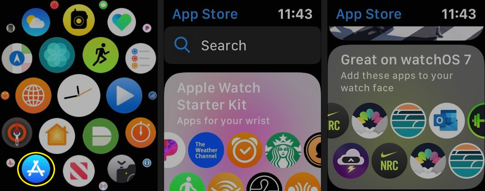 Open the App Store on your Apple Watch to see featured apps