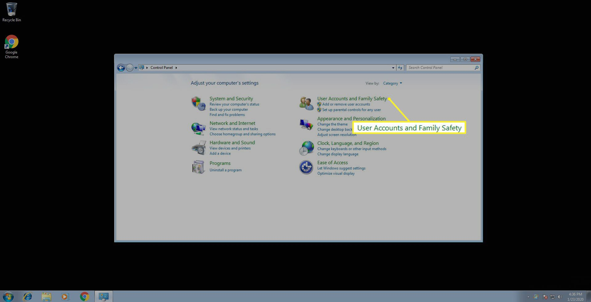 User Accounts and Family Safety in Windows 7