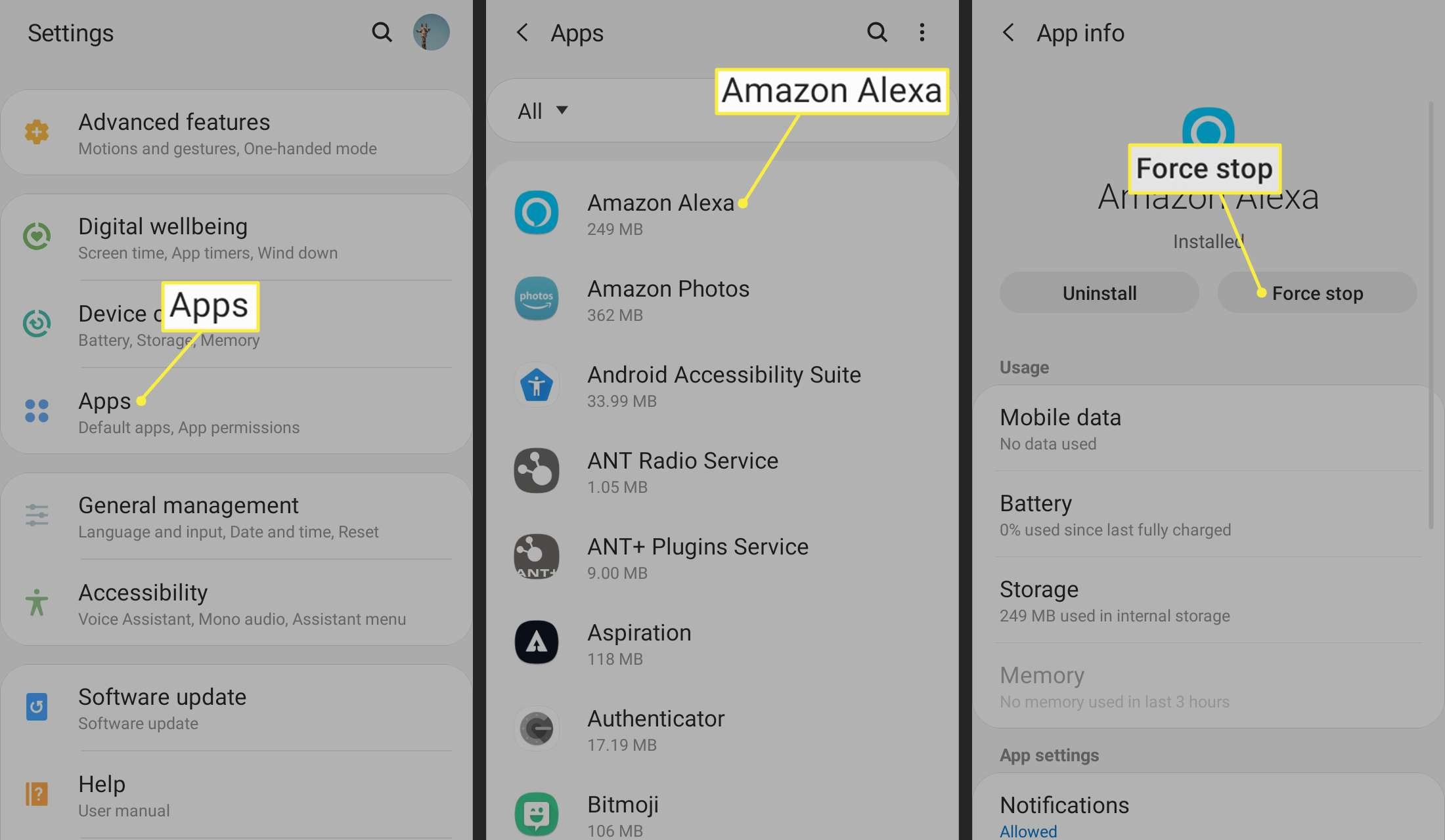 Apps, Amazon Alexa, and Force Stop highlighted in Android settings