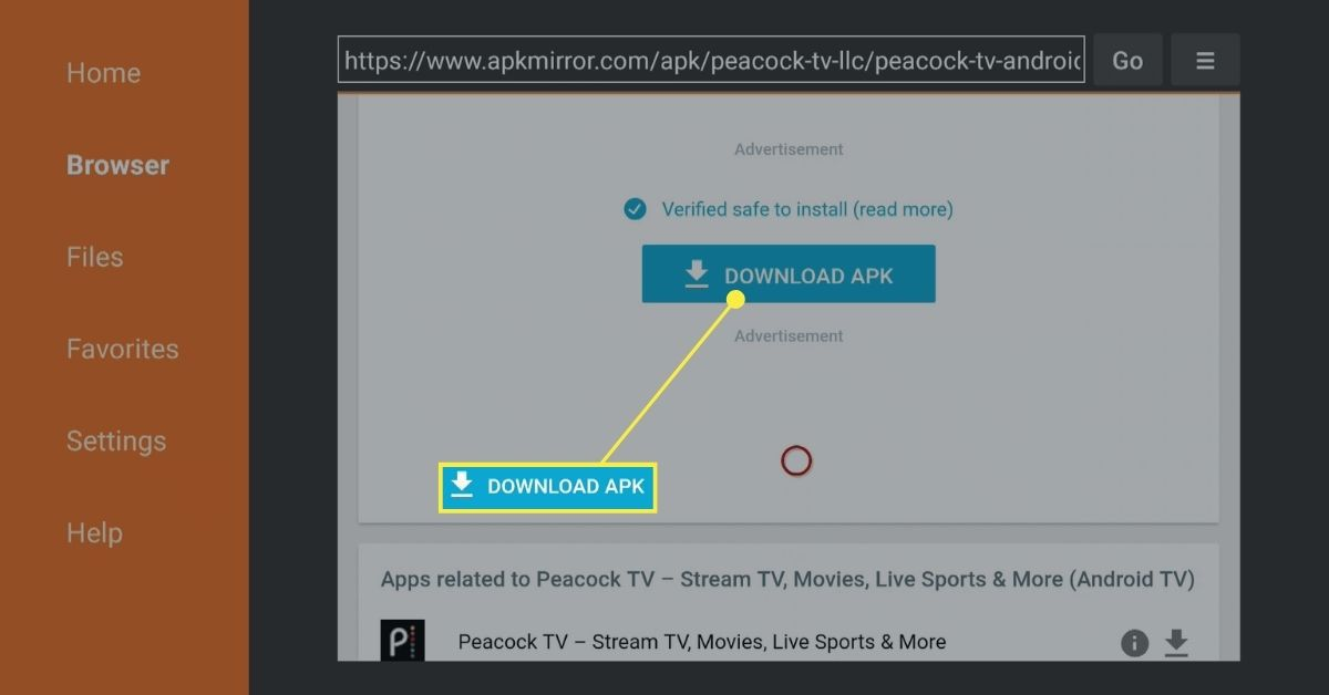 The DOWNLOAD APK button in the Downloader app on Fire TV.