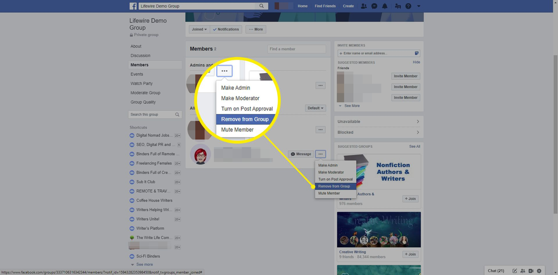 Choosing to remove a member from a Facebook Group.