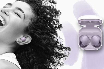 Samsung Galaxy Buds 2 in lavender, worn and in the wireless charging case.