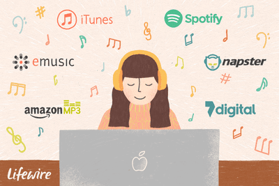 An illustration of a woman listening to music on her computer from different providers.