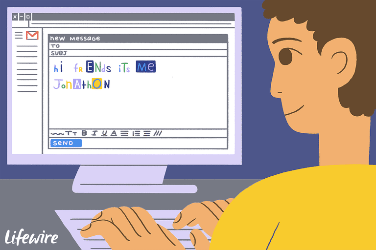 Illustration of a person using multiple fonts in an email