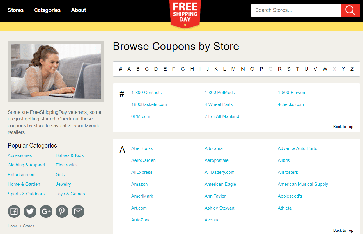 List of stores at Free Shipping Day