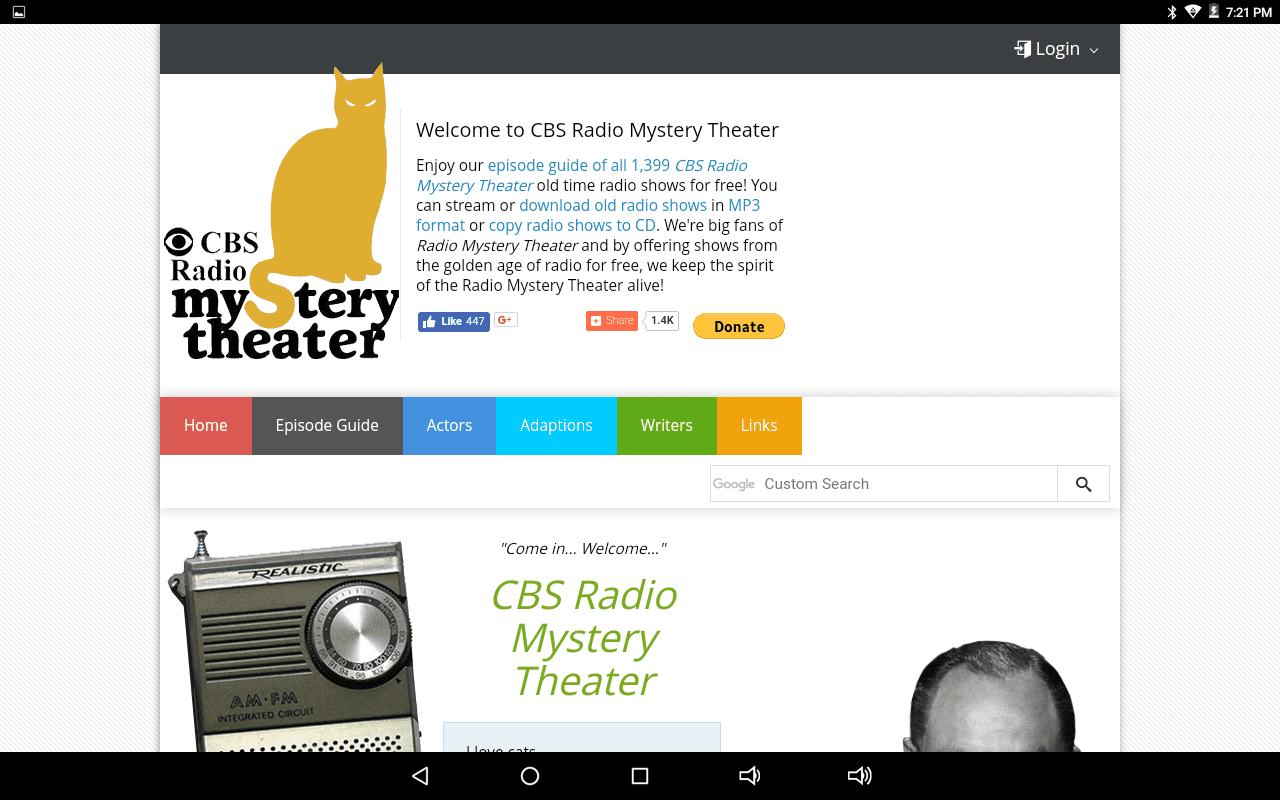 CBS Radio Mystery Theater home page