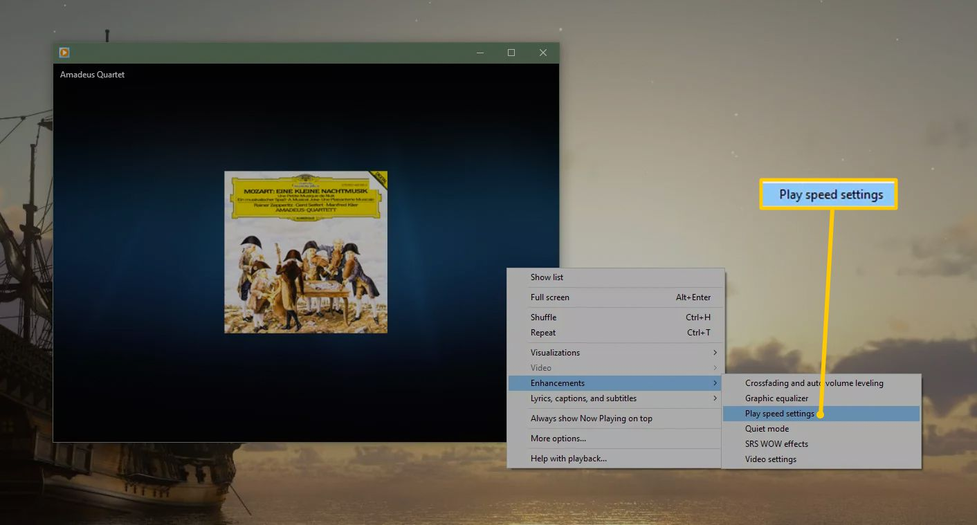 Play speed settings for Windows Media Player