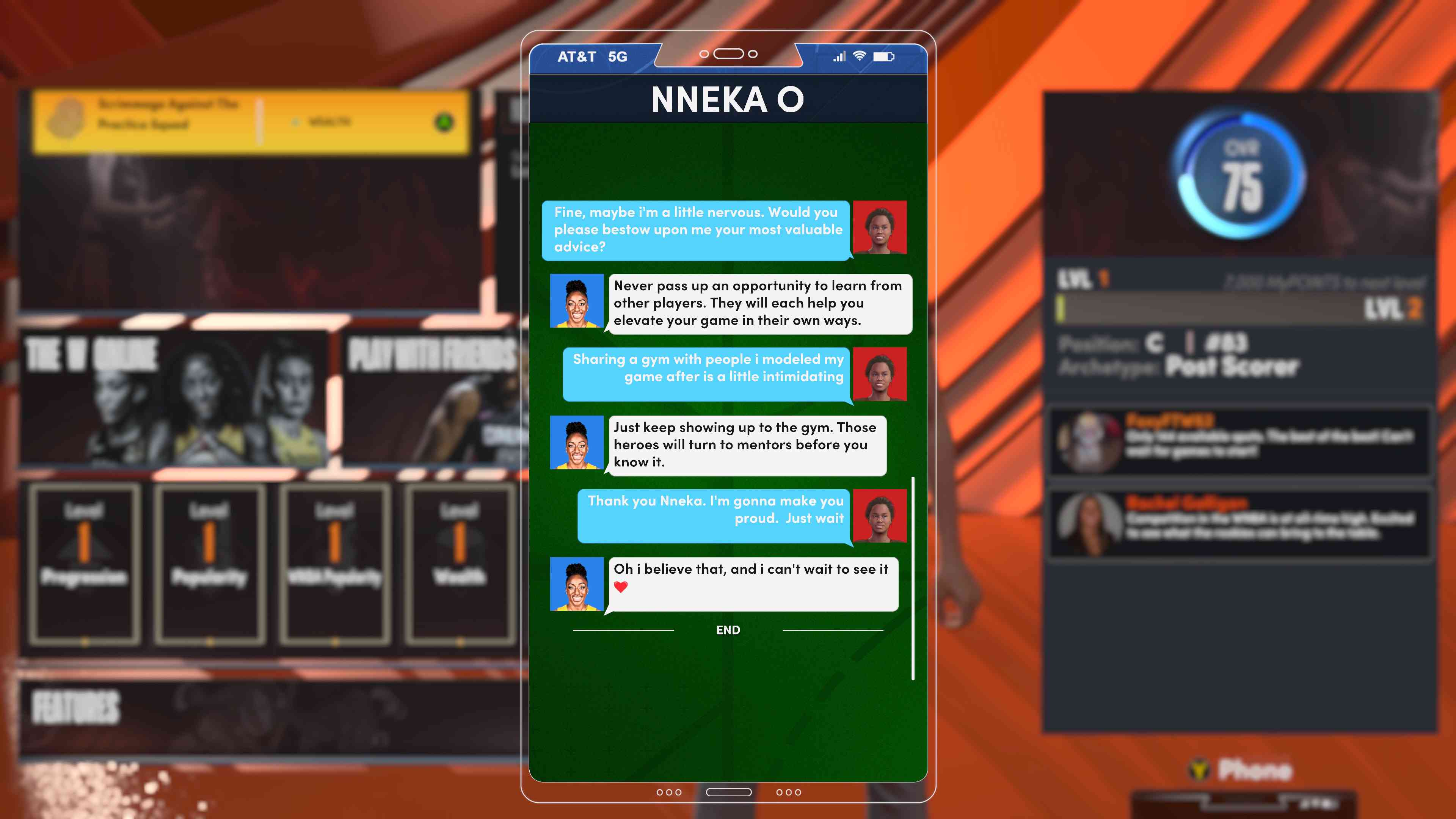 In-game texting in NBA 2K22's WNBA career mode