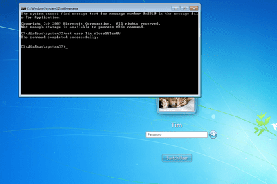 Screenshot showing how to use the net user command to reset a Windows 7 password with cmd.exe