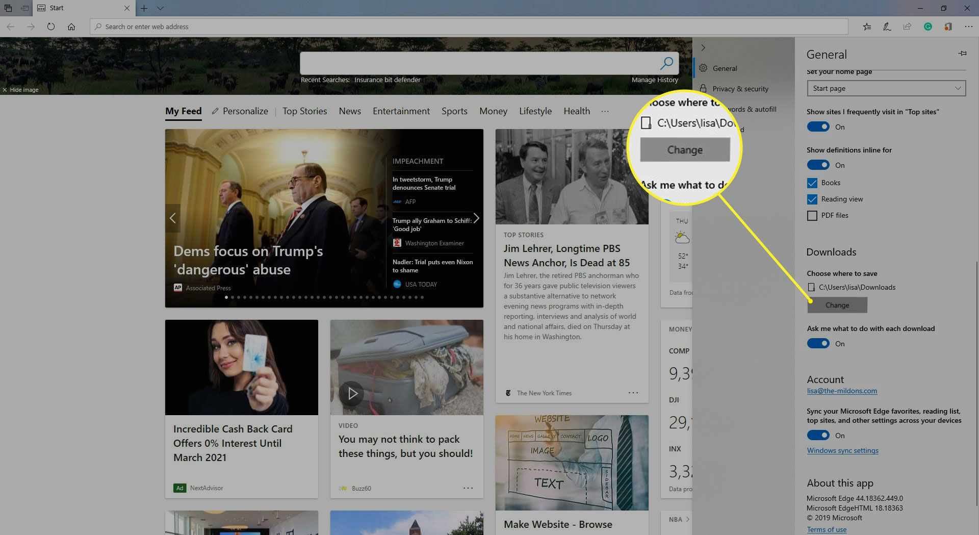 Microsoft Edge Settings > General > Change