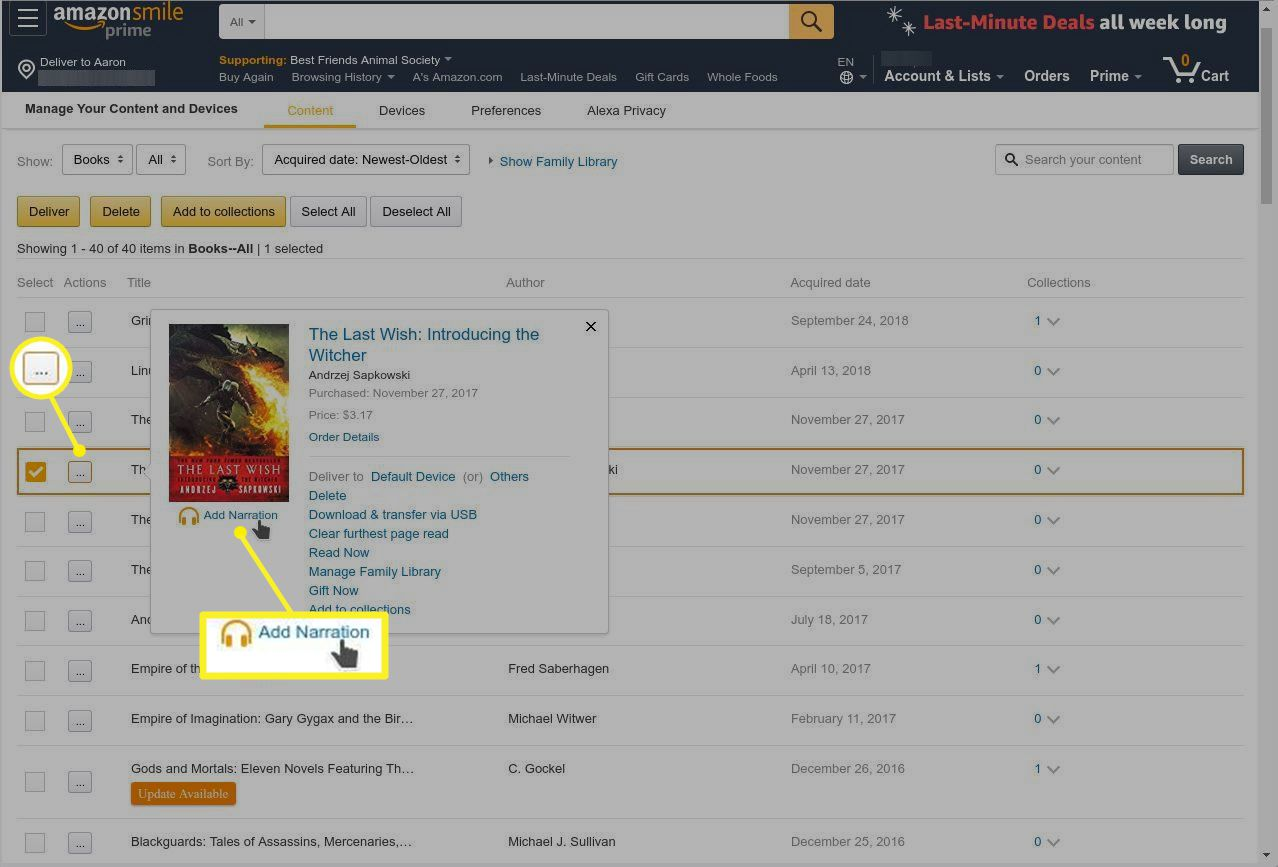 Amazon.com with Add Narration highlighted