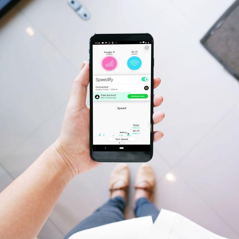 Speedify VPN app on a phone.