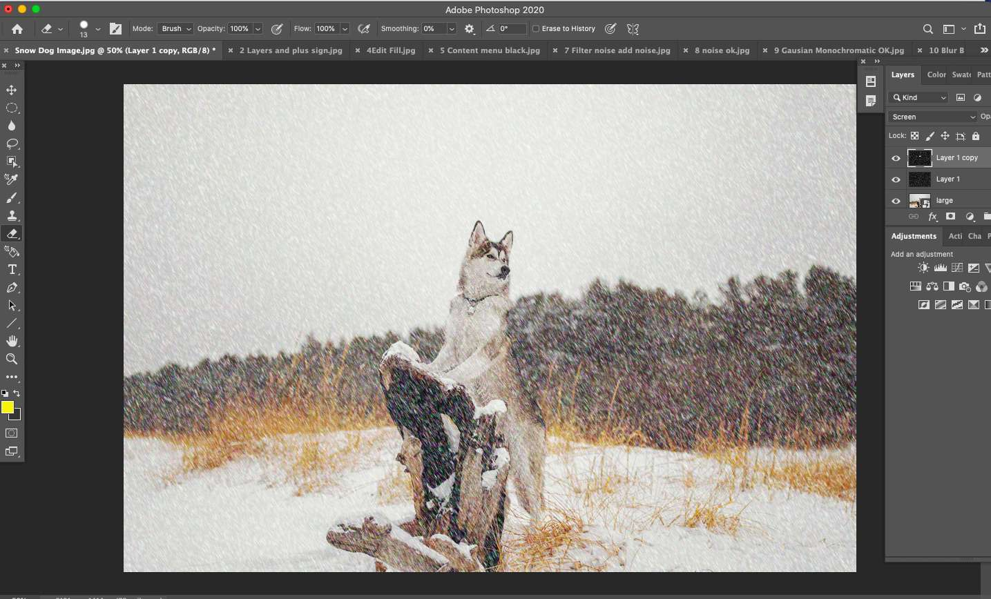 Final image of snow with Photoshop