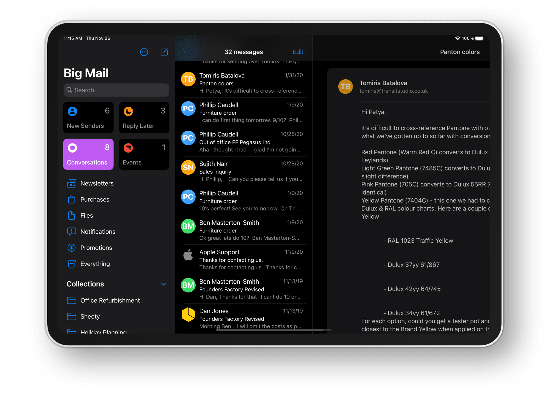 Big Mail's conversations section on iPad showing various email conversations