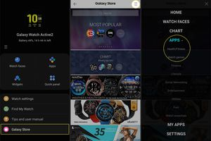 Accessing and searching the Galaxy Store from the the Galaxy Wearable mobile app.
