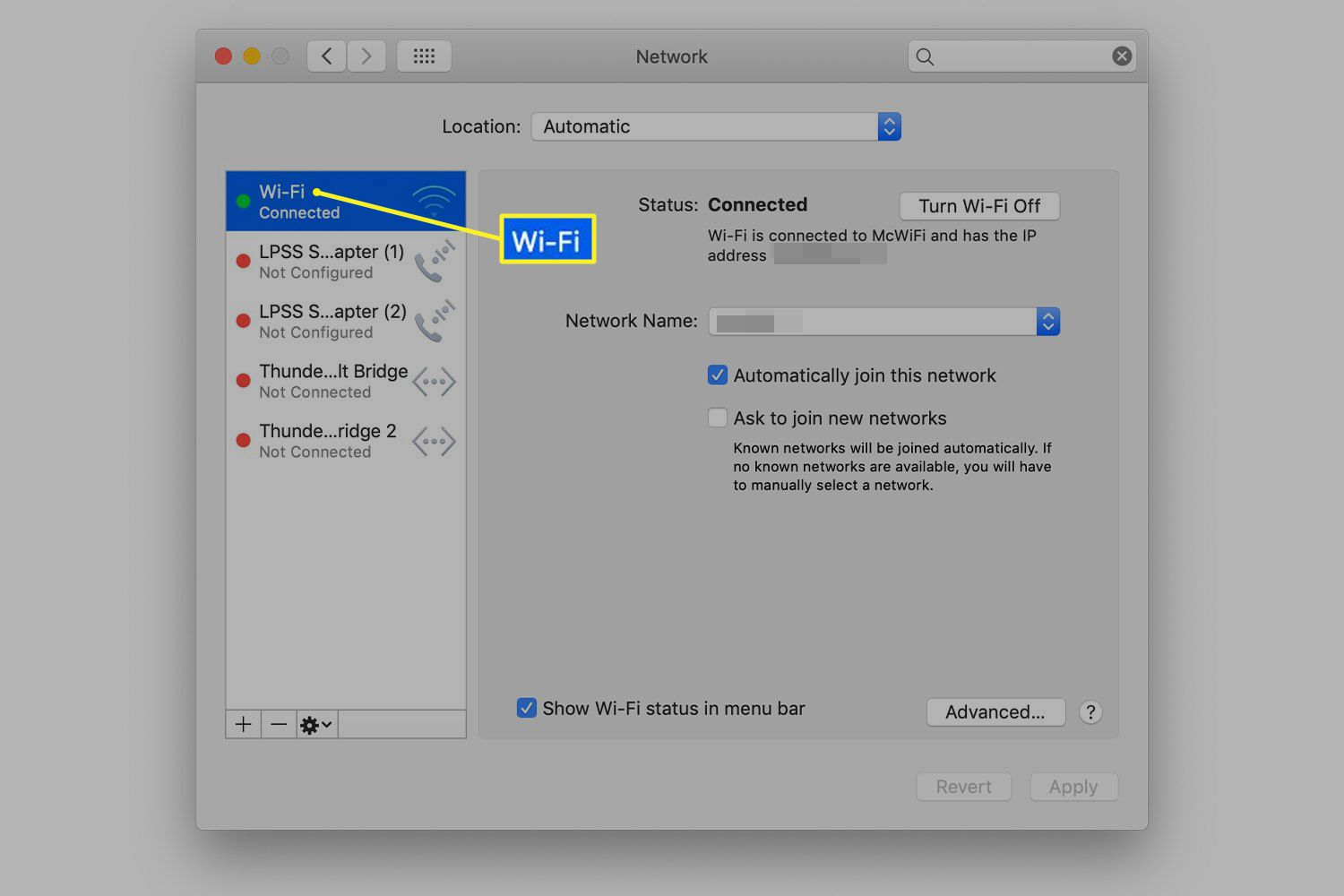 Network system preferences screen
