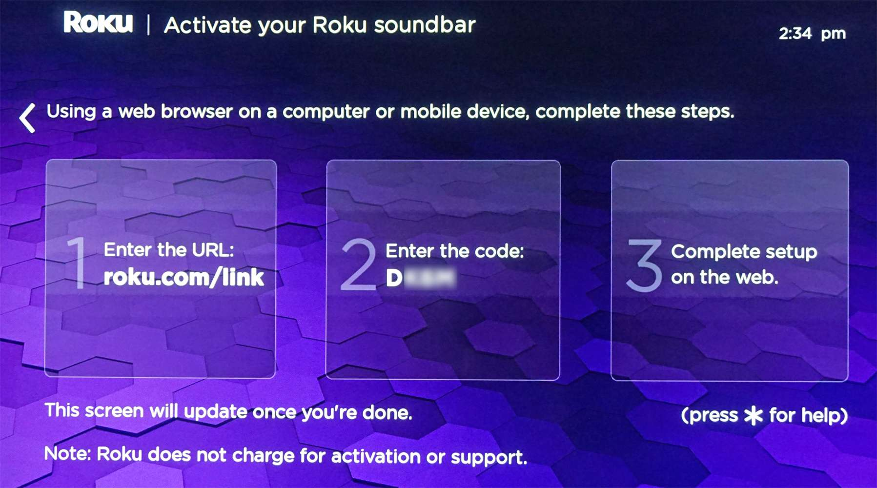 Roku Soundbar – Link Code/Complete Setup on Web