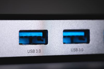 A photo of two USB 3.0 ports on a laptop.