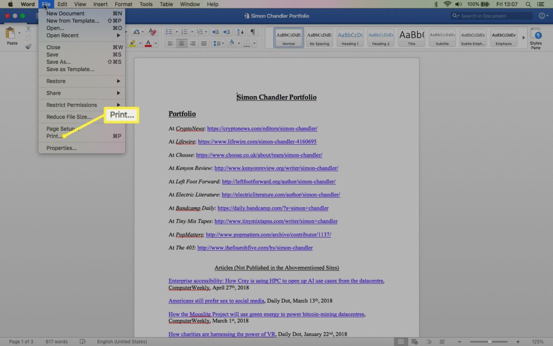 The Word File menu showing Print highlighted