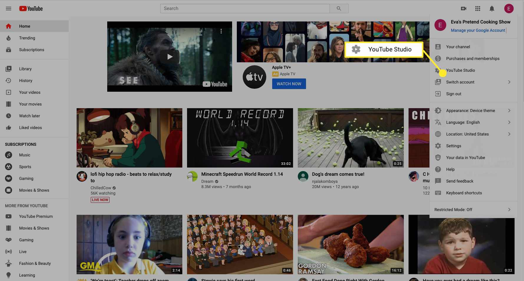 Select YouTube Studio to go to your channel's dashboard.