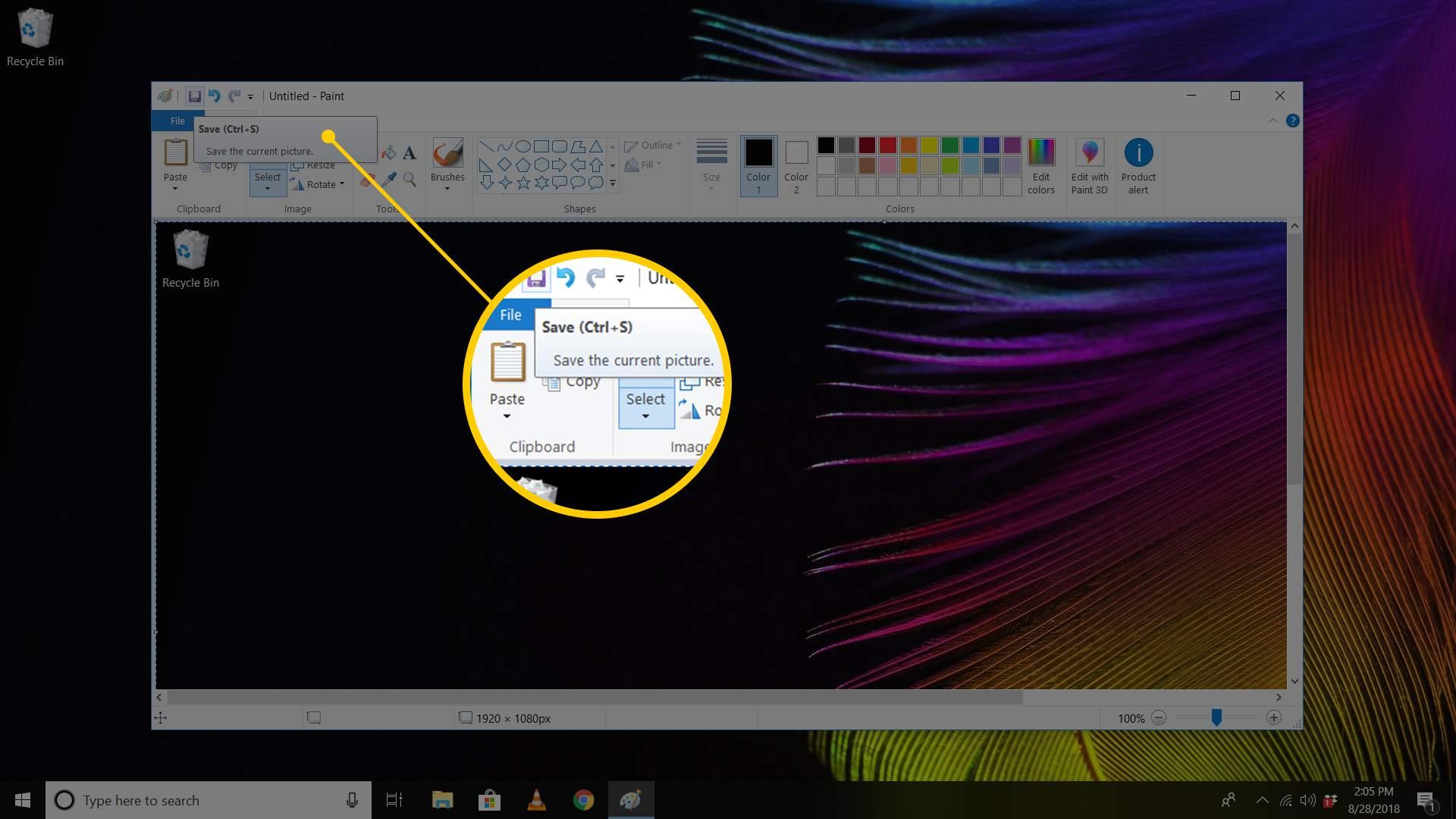 Screenshot of MSPaint window focusing on Save/Ctrl-S