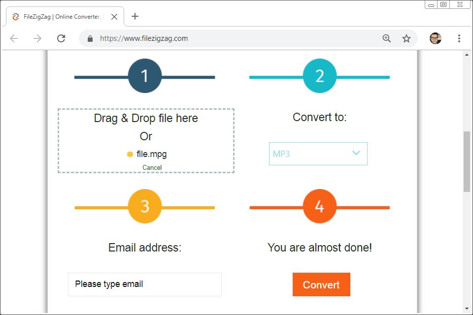 Screenshot of the FileZigZag online MPG converter