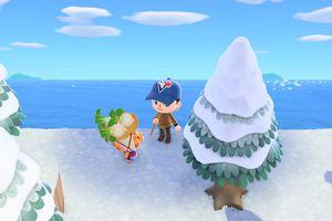 Standing beside Daisy Mae in Animal Crossing: New Horizons