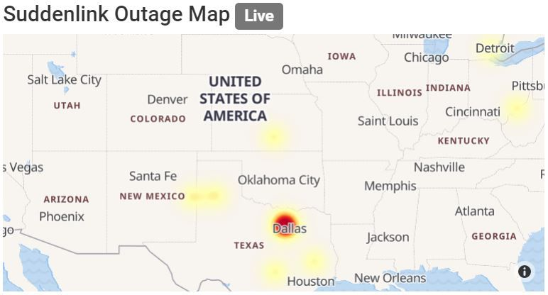 Suddenlink outage map from Outage.Report