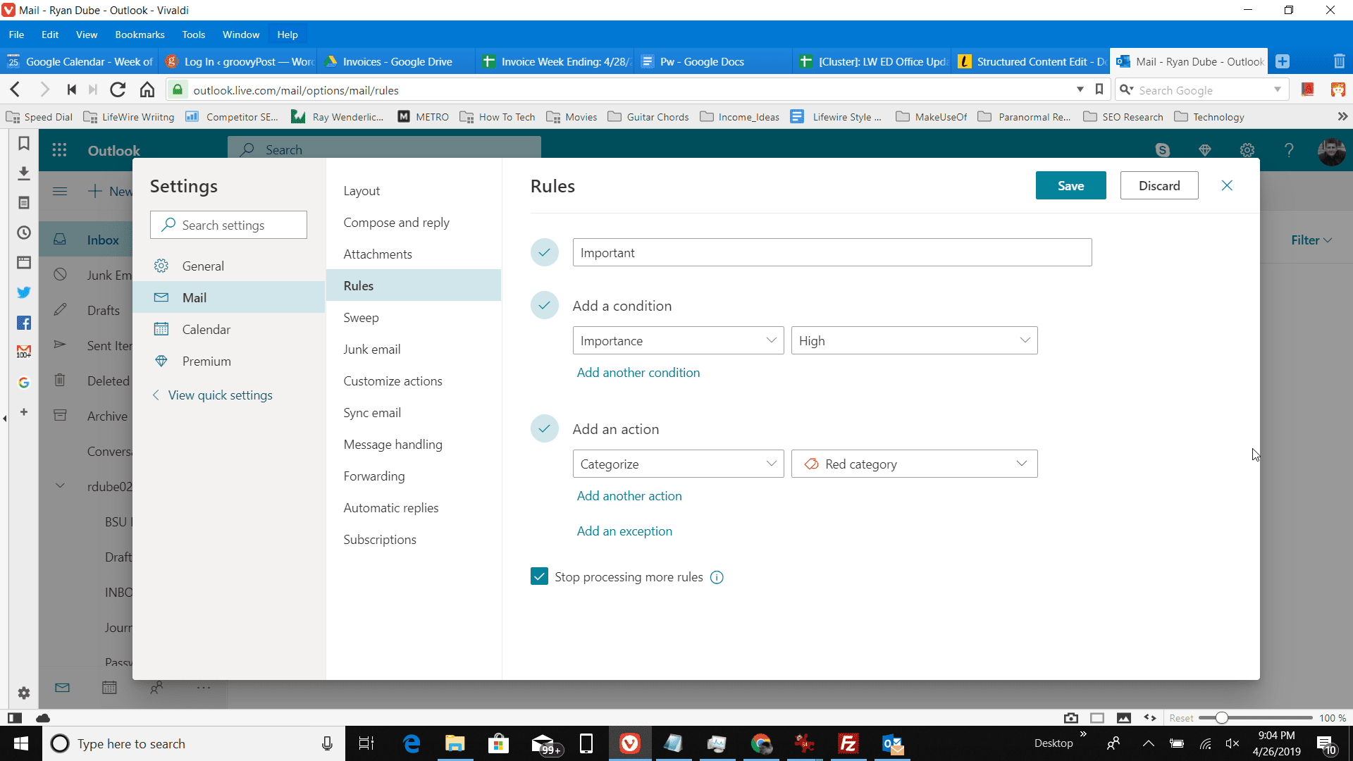Screenshot of the Rules menu in Outlook.com